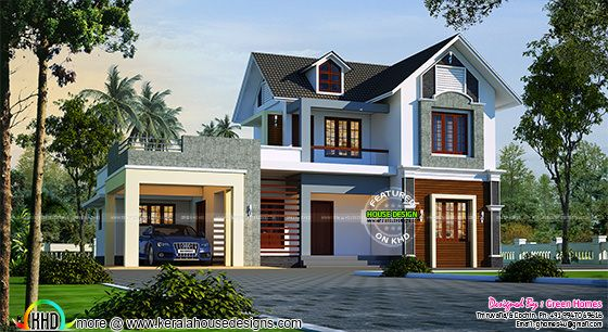 Beautiful sloping roof house in 2205 sq-ft
