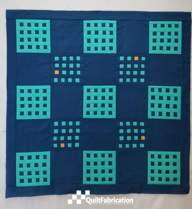 Improv Patchwork quilt top after orange