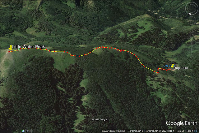 Hiking to Little Water Peakm Utah trail map