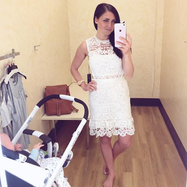 TJ Maxx, Ivory lace illusion dress, lace cutout dress