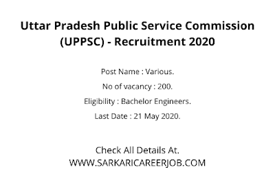 UPPSC Vacancy 2020 Apply Online | 200 Posts UPPSC Latest Govt Jobs 2020.