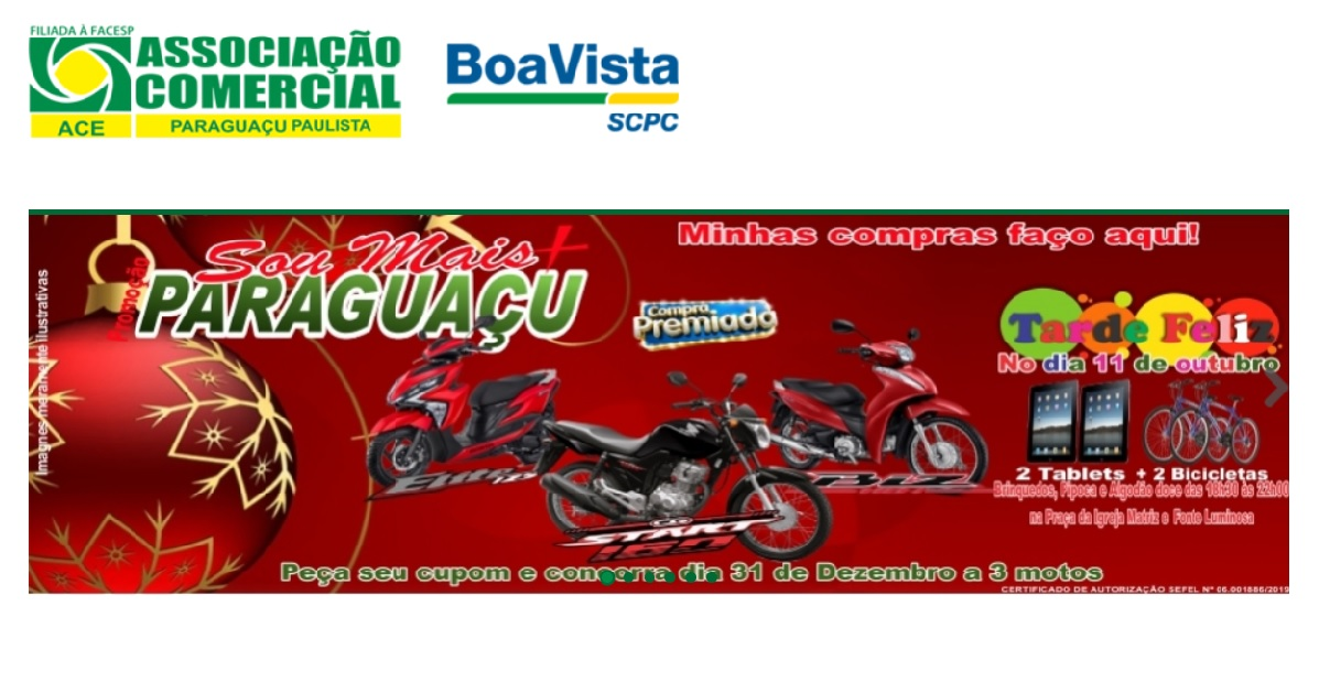 Promoção ACE Paraguaçu Paulista Natal 2019 Concorra Motos, Bicicletas e Muito Mais