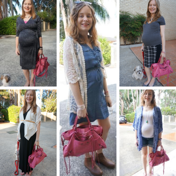5 outfit ideas balenciaga city bag in pregnancy all trimesters sorbet pink colour awayfromblue