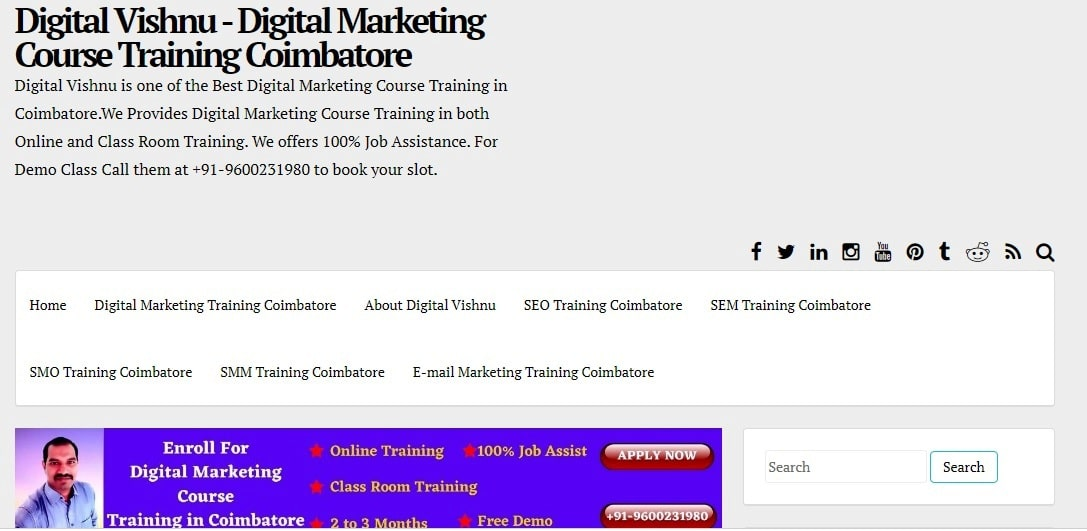 Digital Vishnu - Best Digital Marketing Course Training Institute in Coimbatore