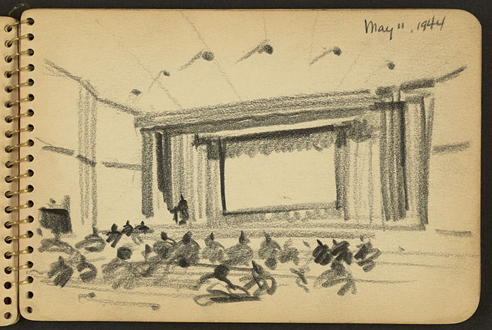 21-Year-Old WWII Soldier's Sketchbooks Show War Through The Eyes Of An Architect - Auditorium At Fort Jackson, South Carolina