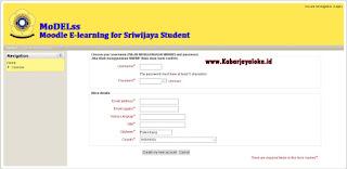 Halaman Pendaftaran E-learning Unsri Maha Siswa Baru