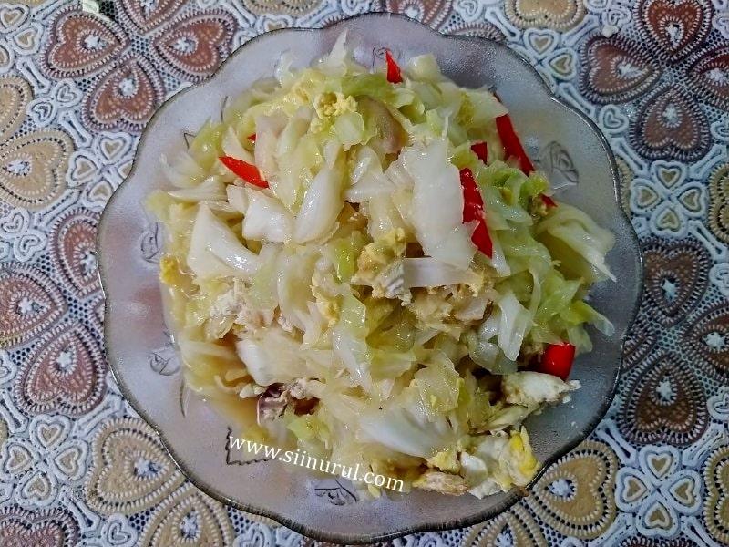 Resepi Sayur Kobis Telur Masak Sos Tiram