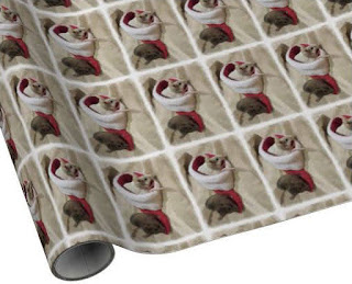 """""""Christmas Mice"""" Wrapping Paper artistically edited photo, painterly watercolor effect"""