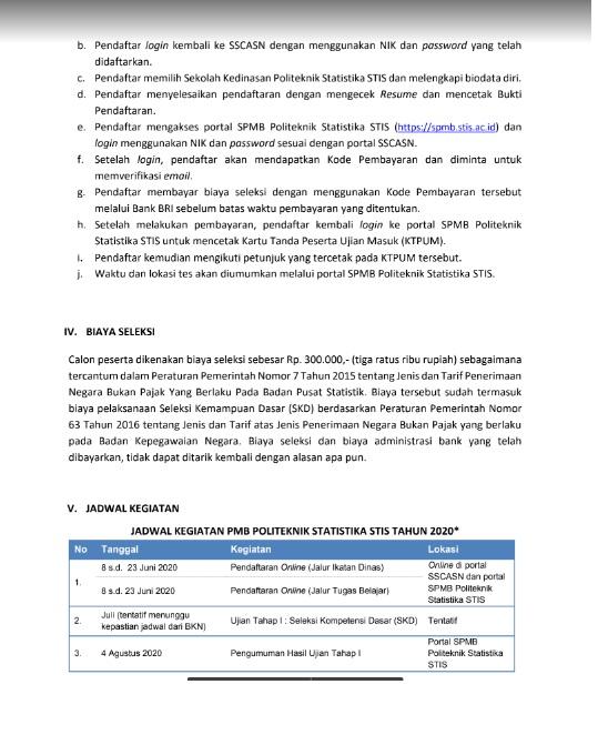 Penerimaan Ikatan Dinas STIS Badan Pusat Statistik Tahun 2020 Sebanyak 600 Orang