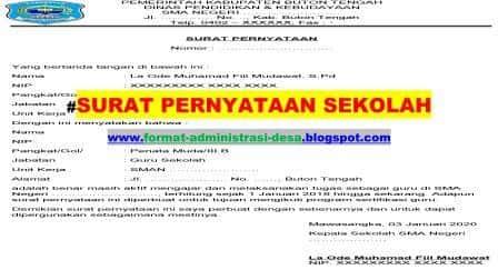 Surat Pernyataan Sekolah Contoh Format Doc-PDF   FORMAT ...