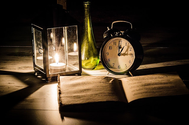 Desk, Book, Candle, Clock, Table, Study, Old Book