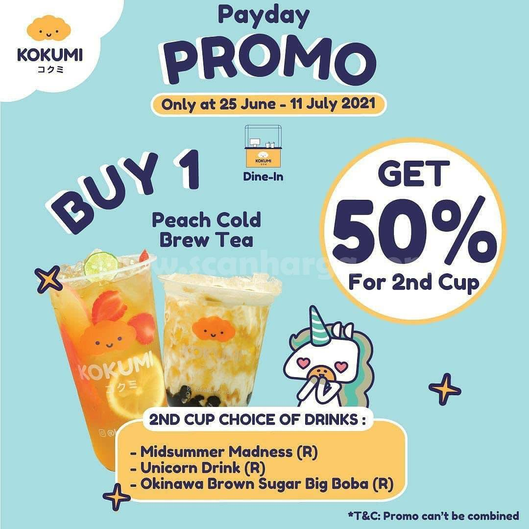 KOKUMI Promo PAYDAY - Buy 1 Peach Cold Brew Tea Get 50% For 2nd