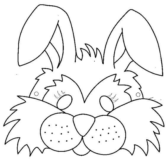 Tranh tô màu mặt nạ thỏ