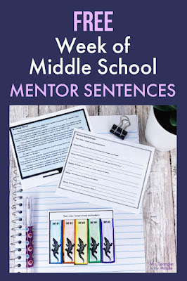 Start off your middle school ELA class period with a quick and easy practice/review of key grammar and reading skills with the help of a model mentor sentence.