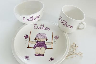 Vajillas de cerámica artesanal , pintadas a mano y personalizadas