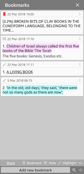 Mobile Screenshot: Moon Reader - viewing bookmarks, highlights, notes, underline