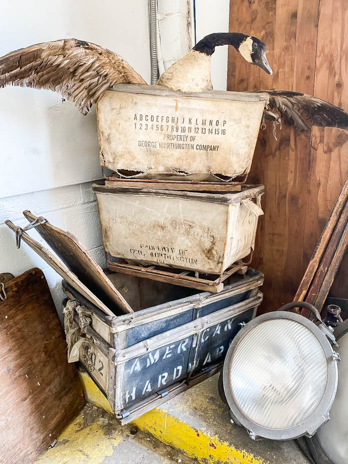 Vintage industrial laundry baskets