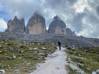 Tre Cime di Lavaredo seens from the north side.