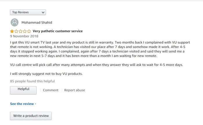 VU TV Customer Reviews Amazon
