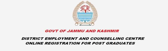 J&K Unemployed PG Youth Online Registration