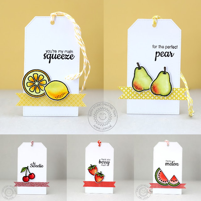 Sunny Studio Stamps: Fresh & Fruity Pear, Lemon, Strawberry, Cherry Watermelon Gift Tags by Anni.