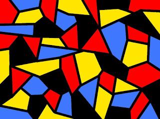 Mosaik mit Rot, Gelb, Blau und Schwarz