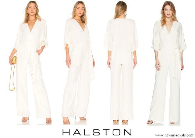 Princess Caroline wore HALSTON Wide Short Sleeve Wrap Front Jumpsuit with Waist Tie