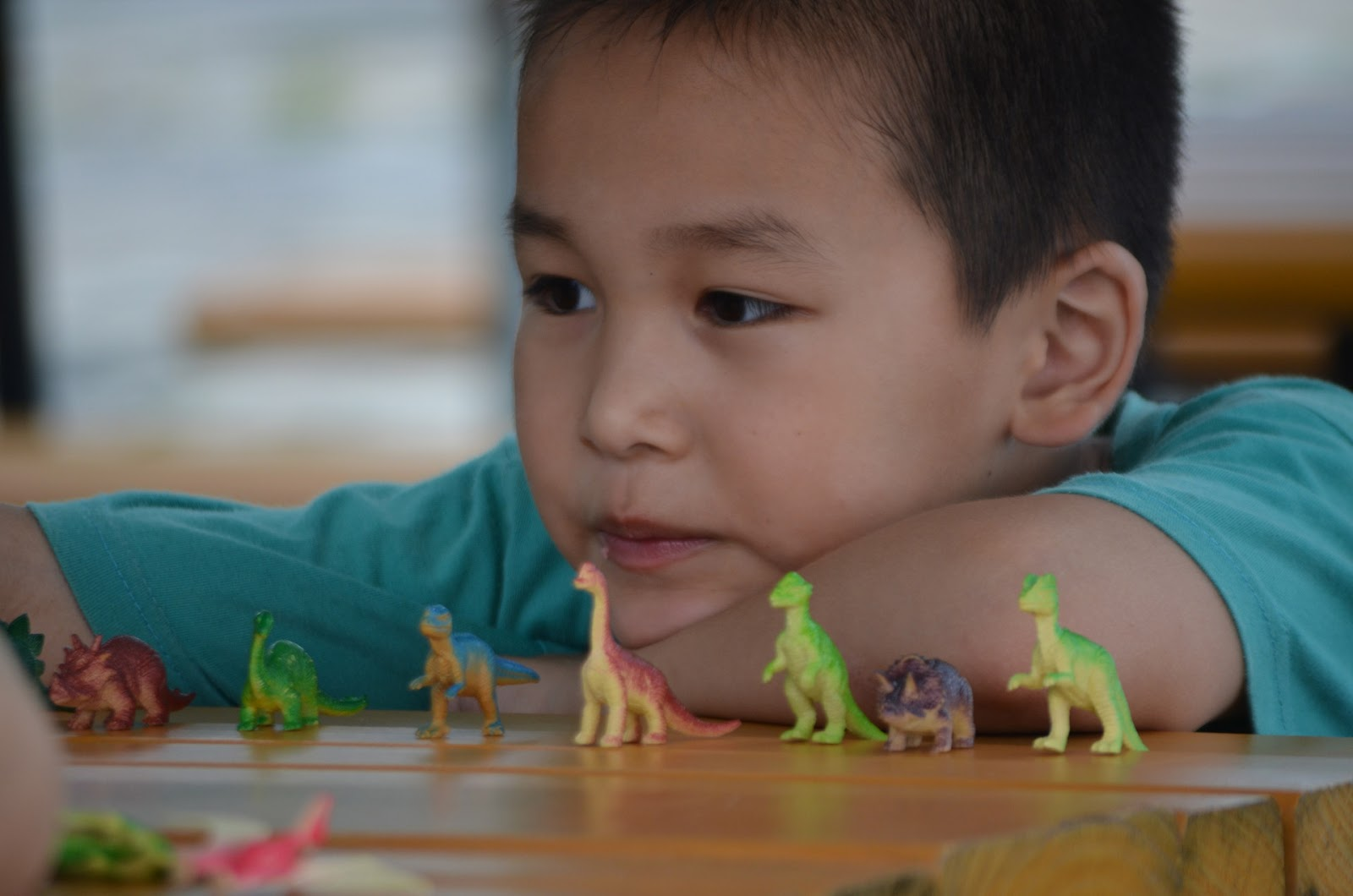 NAMC montessori following child through observation. boy playing with dinosaur figurines