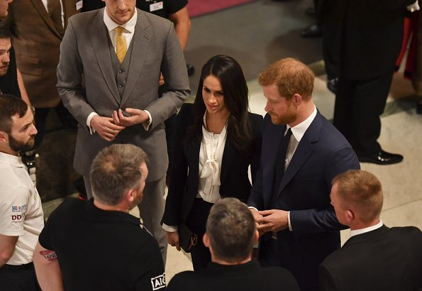 Prince Harry and his fiancee Meghan Markle attended Endeavour Fund award ceremony held at Goldsmiths' Hall in London. Meghan wore black blazer suit