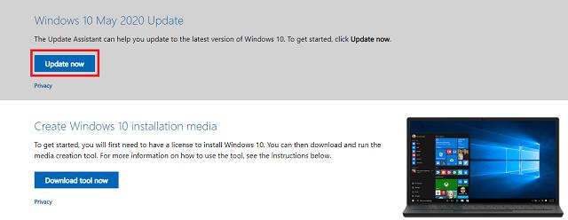 زر ترقية الى نظام update now windows 10