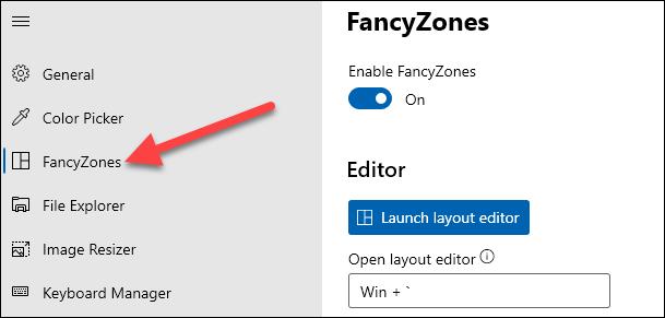 حدد علامة التبويب fancyzones