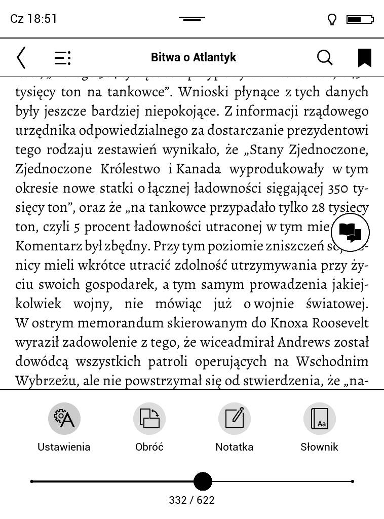 Dodana zakładka w menu e-booka na czytniku PocketBook Touch Lux 4