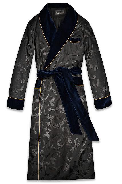 mens dark blue silk velvet dressing gown luxury loungewear robe vintage smoking jacket classic lounging housecoat