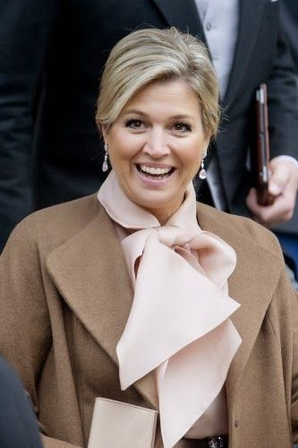 Queen Máxima attended the New Years reception for the Corps Diplomatique at the Royal palace, Natan Dress