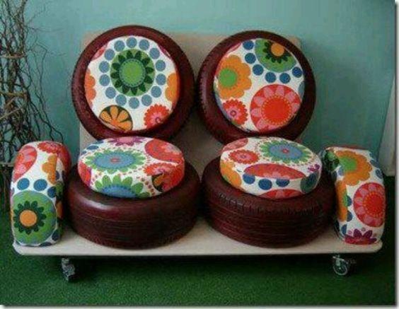 ozdoby z opon w pokoju dziecięcym pufy z opon