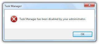 Task Manager yang ter-disable oleh Administrator