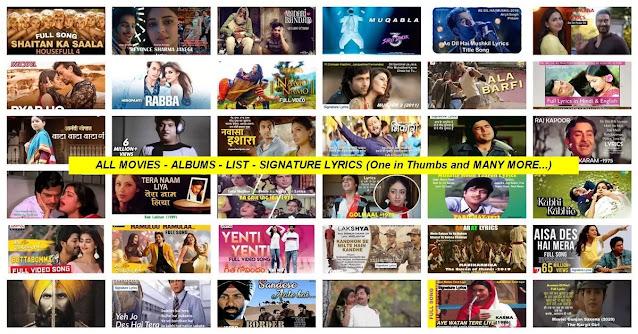 ALL MOVIES - ALBUMS - LIST - SIGNATURE LYRICS