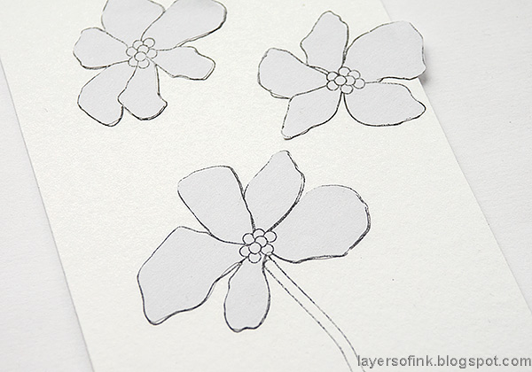 Layers of ink - Watercolor floral on black background tutorial by Anna-Karin Evaldsson.