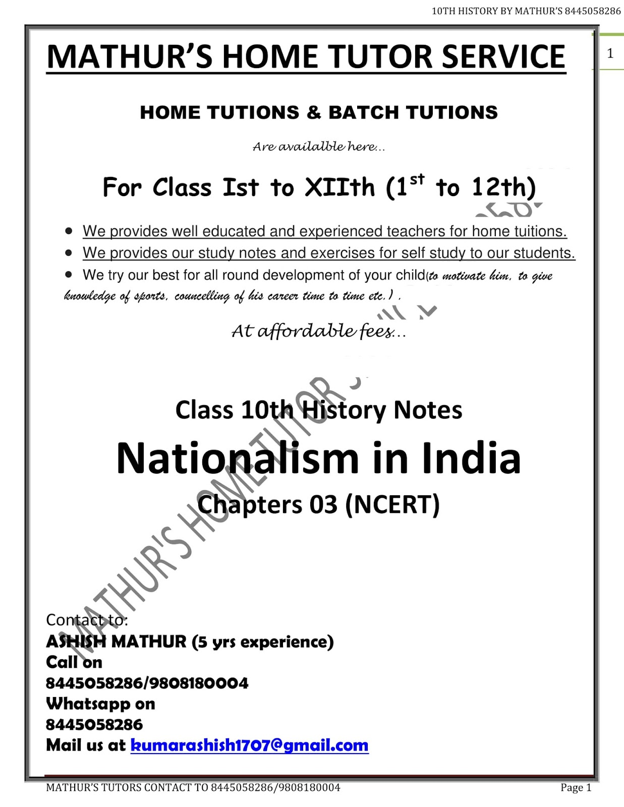 Nationalism In India Class 10 Pdf