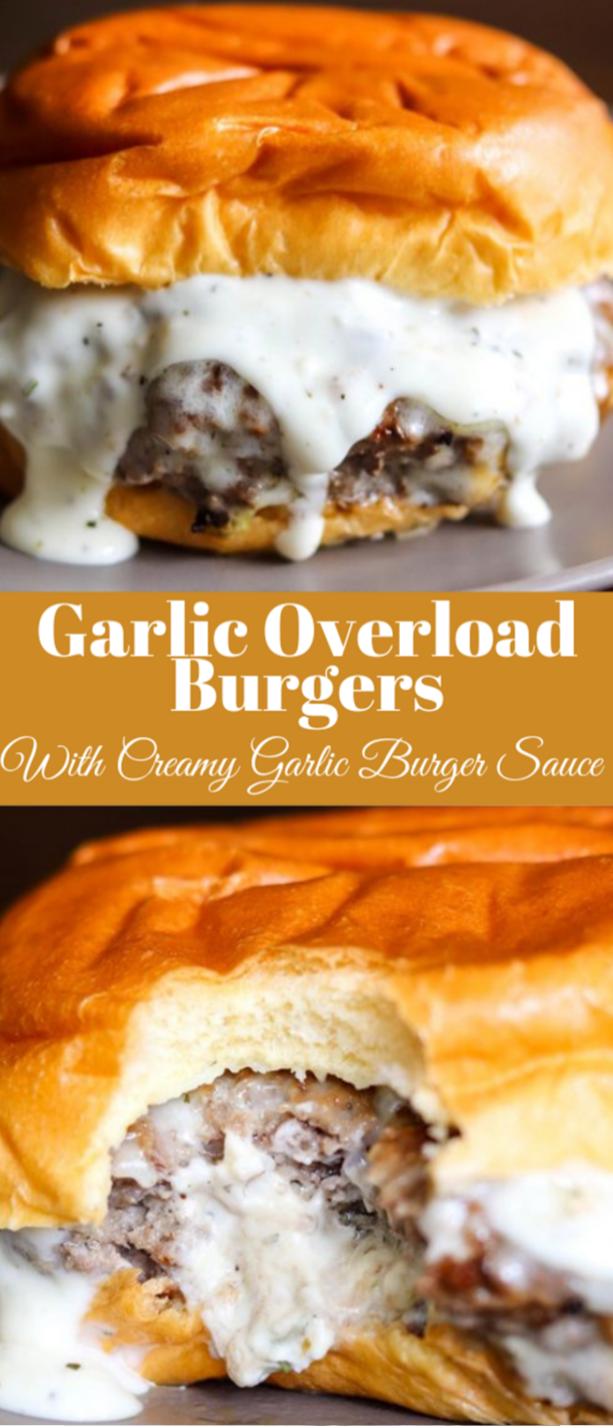 GARLIC OVERLOAD BURGERS WITH CREAMY GARLIC BURGER SAUCE #dinner #garlic #burger #salad #healthyrecipes