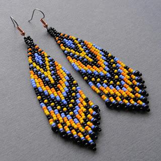 этнические украшения из бисера купить серьги из бисера в этно-стиле