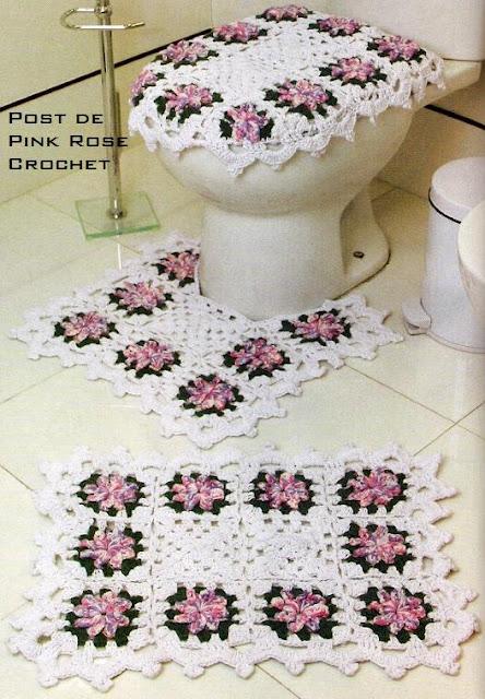 Jogos de Tapetes de Croche Para Decorar Banheiro Com Receitas e Gráficos 7