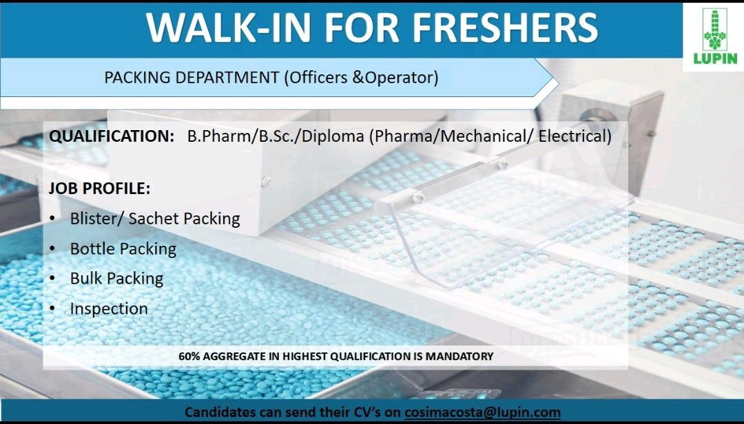 Lupin Ltd - Job Opening for Fresher - Packing, Purchase Department | Apply Now