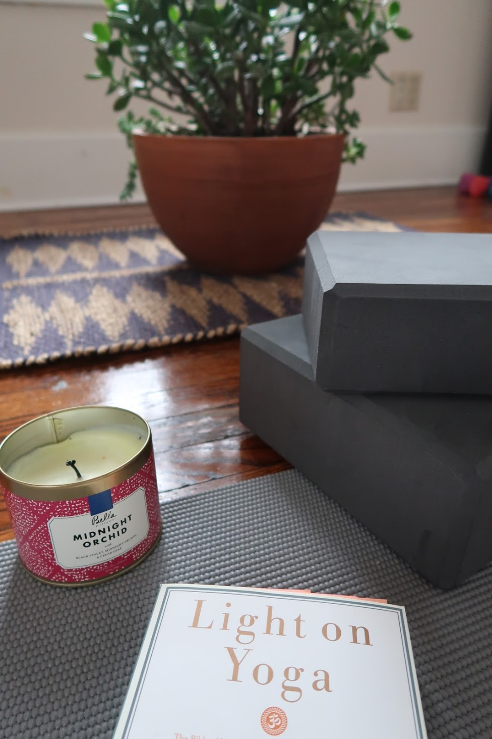 light on yoga block candle jade succulent yogi mat