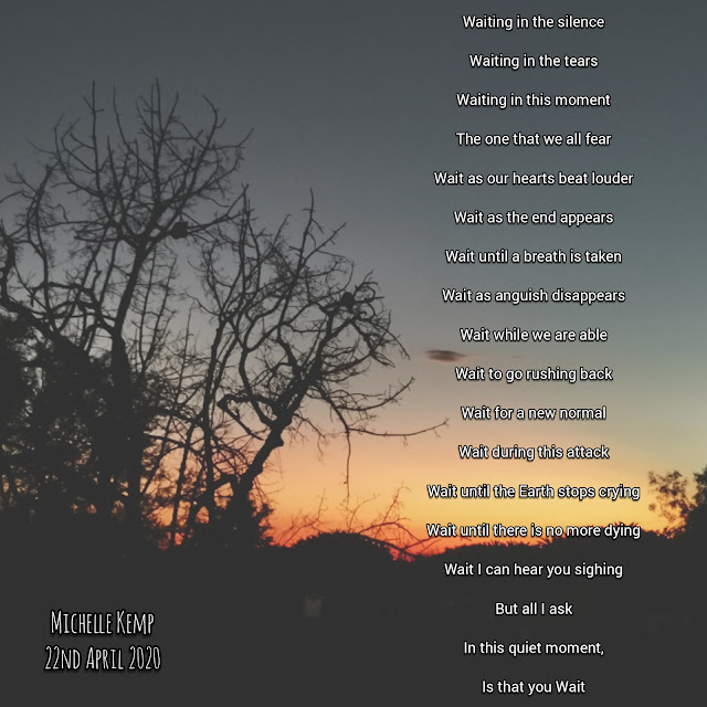 wait - a poem by Michelle Kemp on a background of the setting sun in the bushveld