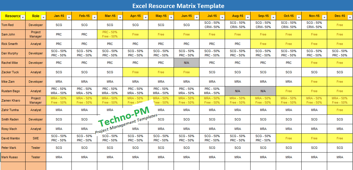 Resource Matrix Template