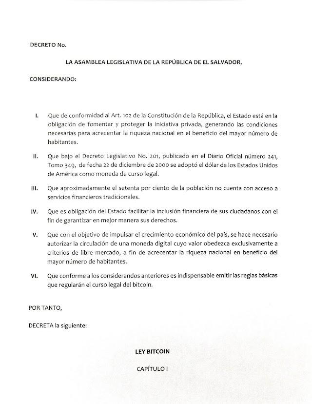Borrador Ley Bitcoin El Salvador