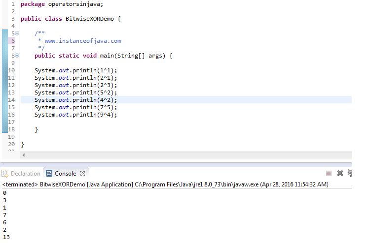 Java XOR bitwise operator