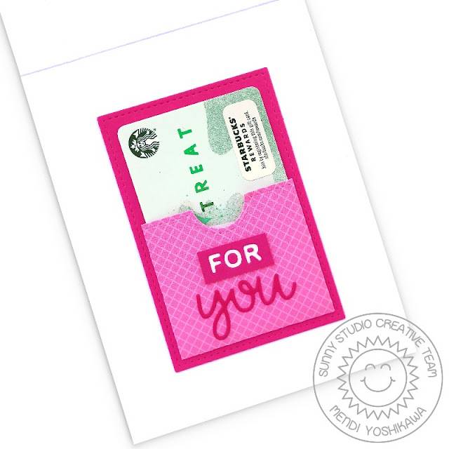 Sunny Studio Stamps: Inside View of Tickled Pink For You Card with Gift Card Pocket