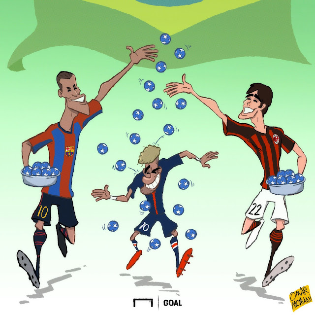 Neymar, Kaka and Rivaldo cartoon